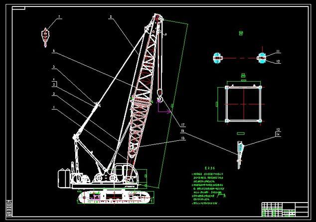 Mobile crane drawing autocad