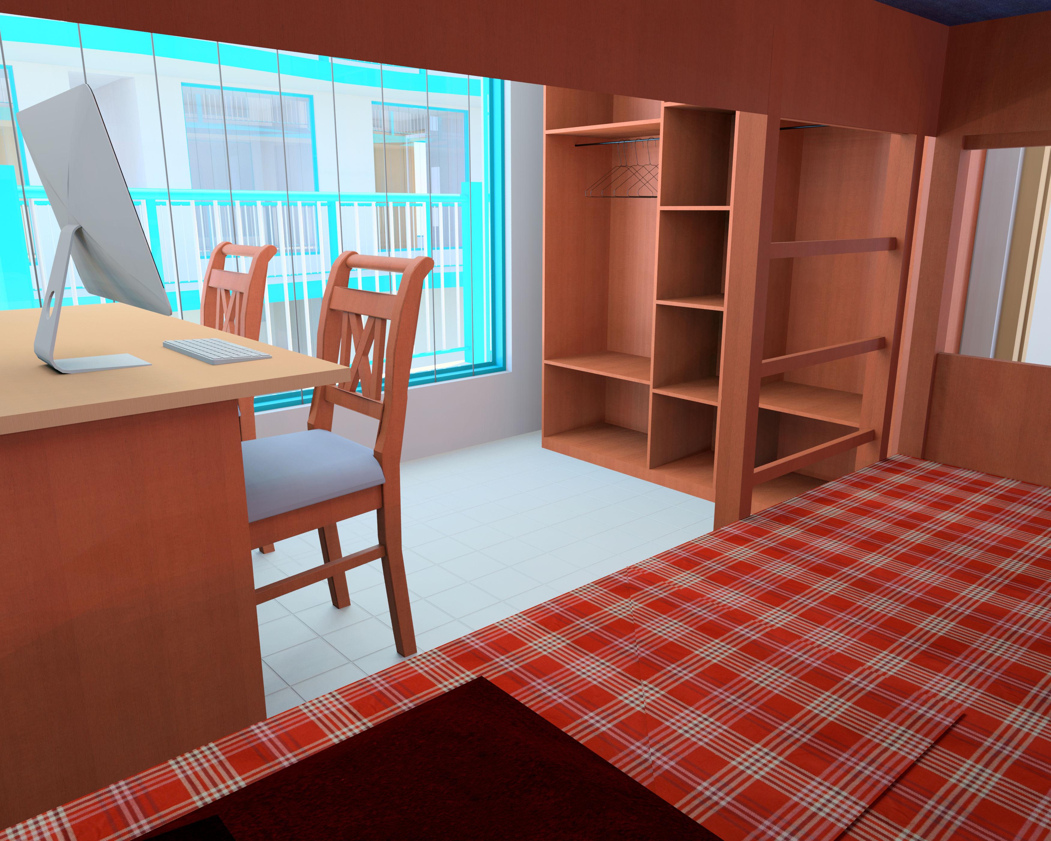 Simple interior room design of a student hostel autodesk for Minimalist student room