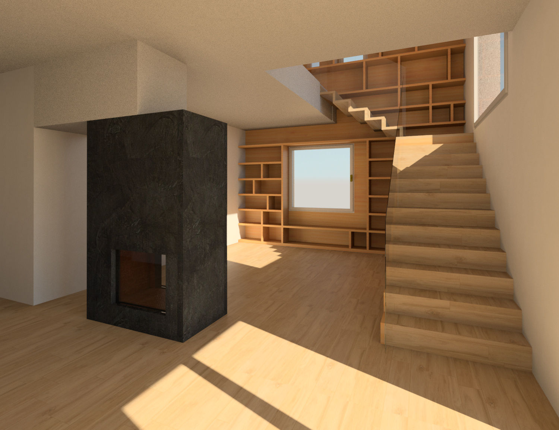 Soggiorno Living Room - Camino Fire|Autodesk Online Gallery